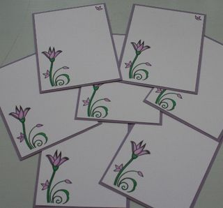 Notecard purple flower set