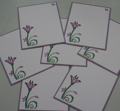 Notecard purple flower set
