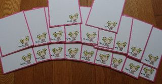 Notecard girl pink set