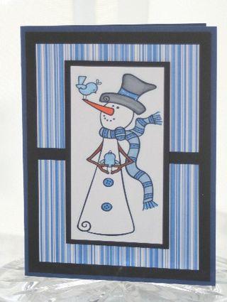 Snowman bird blue