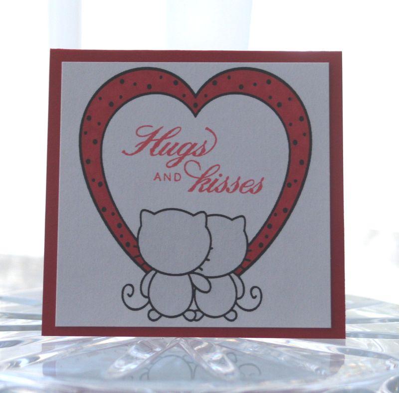 Mini card heart cats