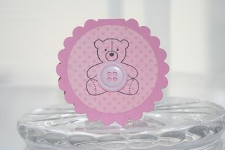 Mini card pink bear button