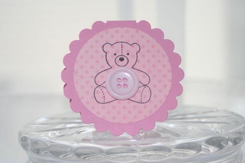 Mini card pink bear button