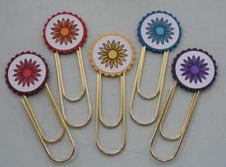 Clip bookmark flower set