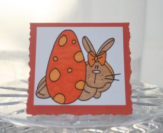 Mini card bunny orange