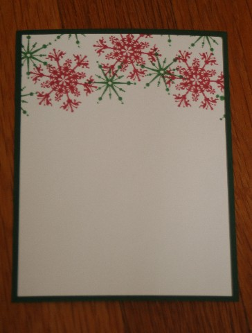 Notecard colored snow