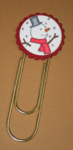 Clip bookmark snowman red