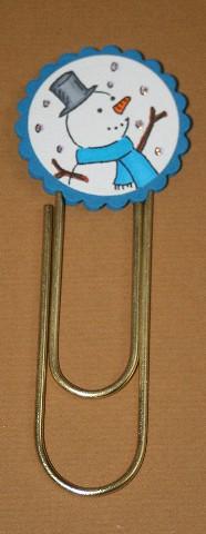 Clip bookmark snowman blue