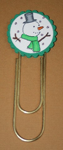 Clip bookmark snowman green