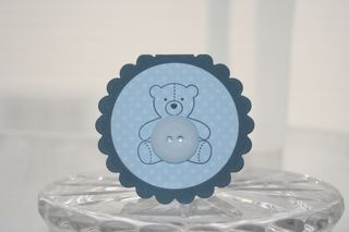 Mini card blue bear button