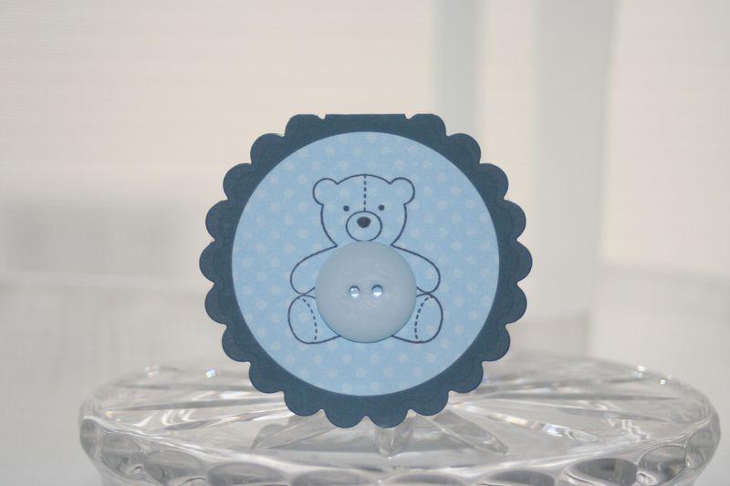 Mini card blue bear button
