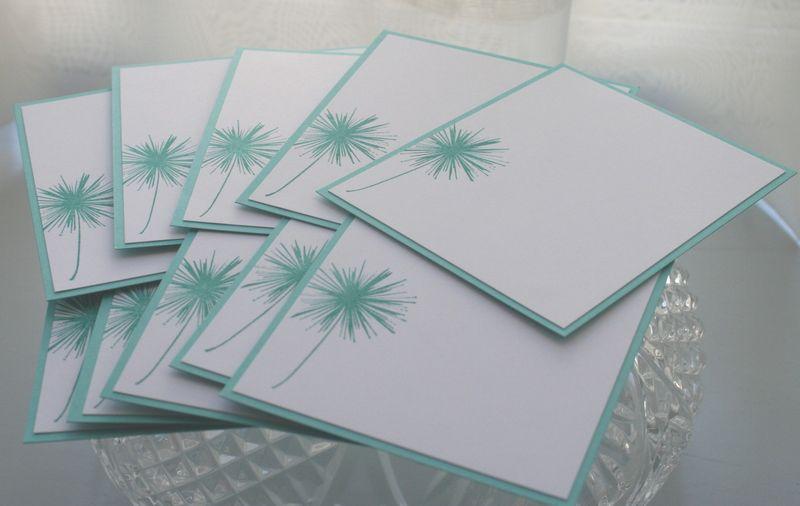 Notecard teal dandelion set