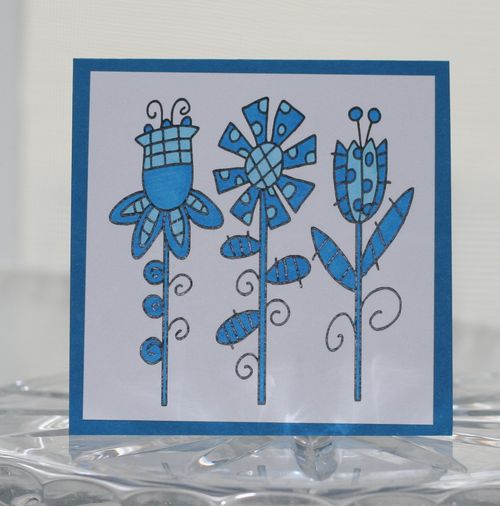 Mini card blue fun flowers