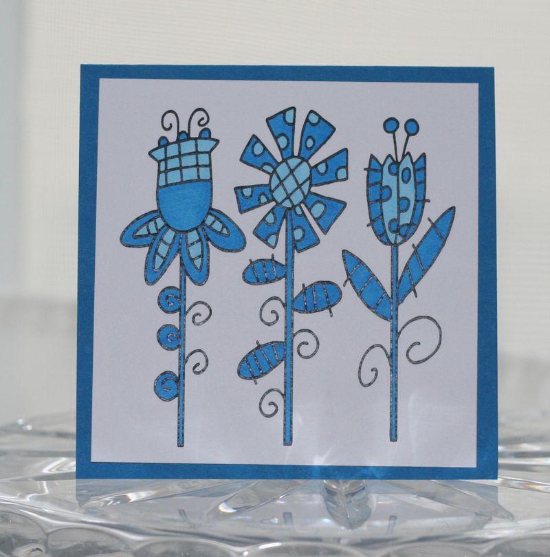 Mini card blue fun flowers