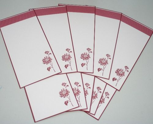 Notecard long flower red set