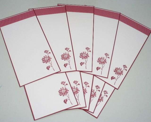 Notecard long flower red set