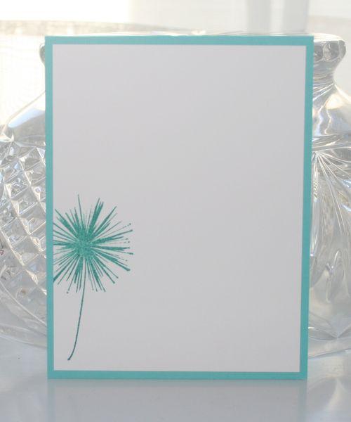 Notecard teal dandelion