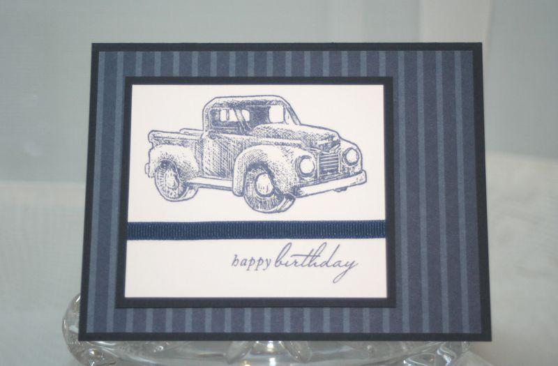 Birthday blue stripes truck