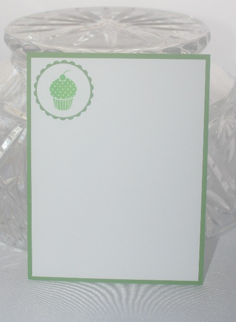 Note card cupcake green