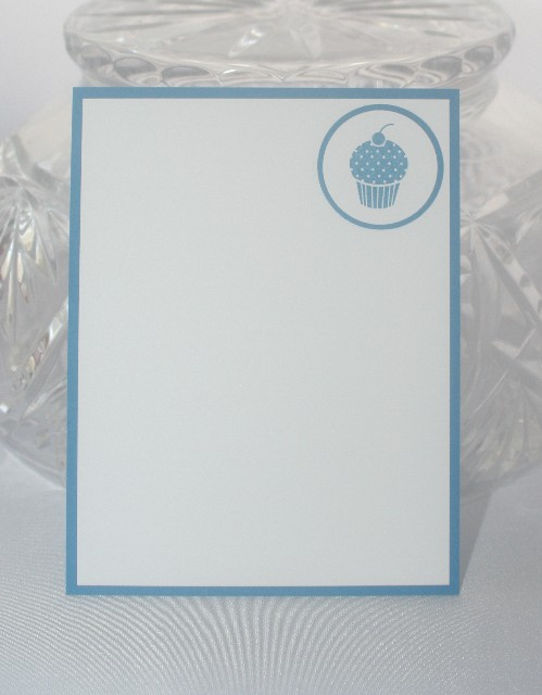 Note card cupcake blue