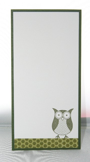 Notecard long owl green