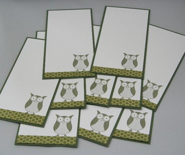 Notecard owl green set