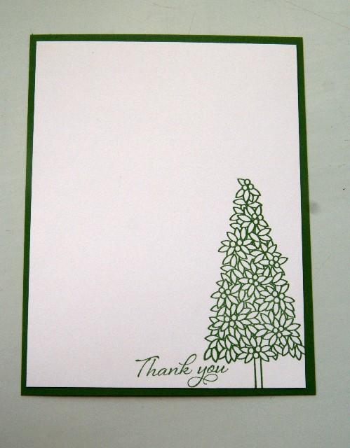 Note card xmas tree thank you