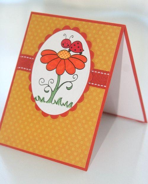 Ladybug flower orange side