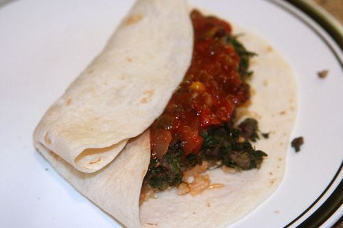 Bean and spinach burrito 2