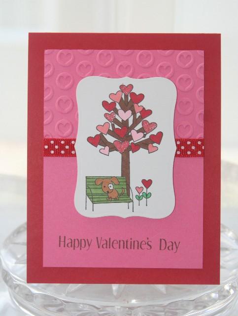 Valentines heart tree dog