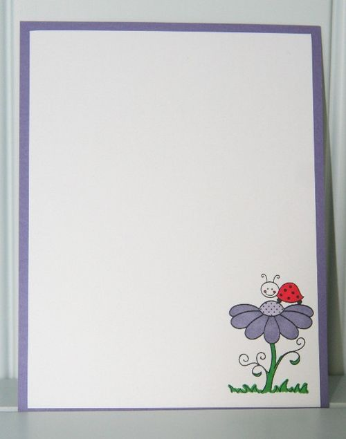 Note card laybug flower