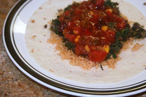 Bean and spinach burrito 1